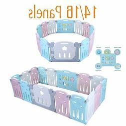 14/16 Panel Baby Safety Play Yards Kids Foldable Playpen Act