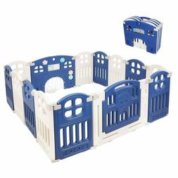 Baby Fence Children Playpen 14 Panel Play Yard Kids Safety A
