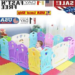 16 Panel Baby Safety Play Yards Kids Folding Playpen Activity Center Fence Home