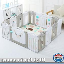 14 Panel Baby Safety Play Yards Kids Foldable Playpen Activi