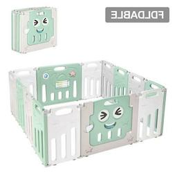 14 Panel Foldable Baby Playpen Kids Safety Fence Play Center