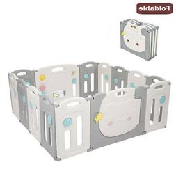 14 Panel Foldable Baby Playpen Thicken Kids Safety Play Fenc