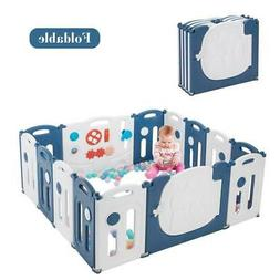 14 Panels Foldable Baby Playpen BPA-Free Safety Play Yards K