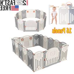 16 Panel Baby Safety Play Yards Kids Foldable Playpen Activi