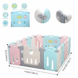 16 Panel Baby Safety Play Yards Kids Folding Playpen Activit