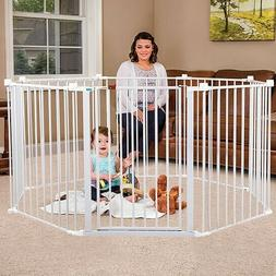 Regalo 4-IN-1 Play Yard Configurable Metal Safety Gate-White