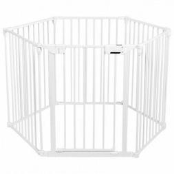 6 Panel Baby Safe Metal Gate Play Yard Barrier Pet Fence Wal