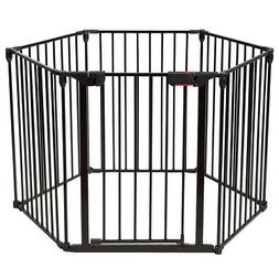 6 Panel Baby Safe Metal Gate Play Yard Pet Fence Barrier Wal