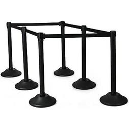 6 Pcs Stanchion Post Crowd Control Barriers Queue Pole w/ Re