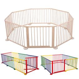 Baby Playpen Foldable 8 Panel Wooden Frame Kid Play Center Y