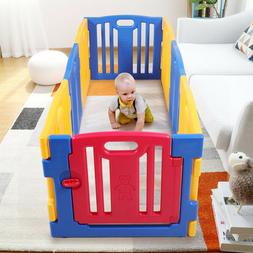 8 Panel Baby Safety Play Yards Kids Foldable Playpen Activit
