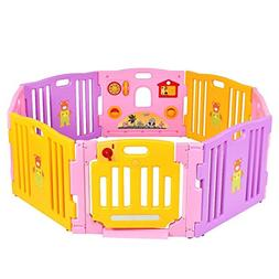 Costzon 8 Panel Baby Playpen Safety Activity Center for Kids