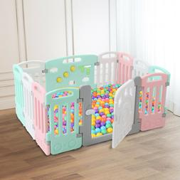 Kids 12 Panels Playpen Safety Play Yard Activity Center Indo