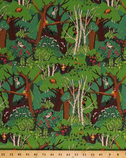 Cotton Forest Woods Children Kids Playing Cotton Fabric Prin
