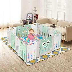 Foldable 14 Panel Baby Safety Play Yards Kids Playpen Activi