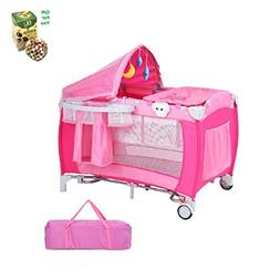 Foldable Baby Crib Playpen w/Mosquito Net and Bag - Pink by