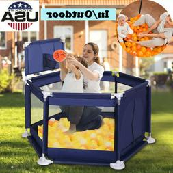 Foldable Baby Playpen Kids Safety Fence Activity Play Center