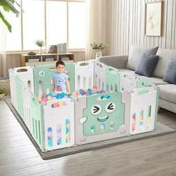 Foldable Portable 14 Panel Baby Safety Play Yards Kids Home
