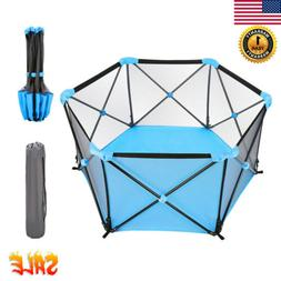 Folding Baby Playpen Kids 6 Panel Safety Play Yard Home Indo