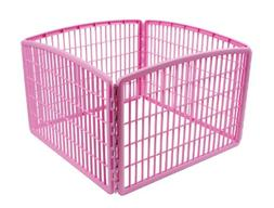 IRIS 24 Exercise 4-Panel Pet Playpen without Door, Pink