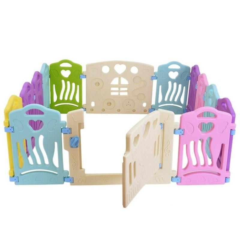 14 Panel Baby Safety Play Yards Kids Folding Playpen Home