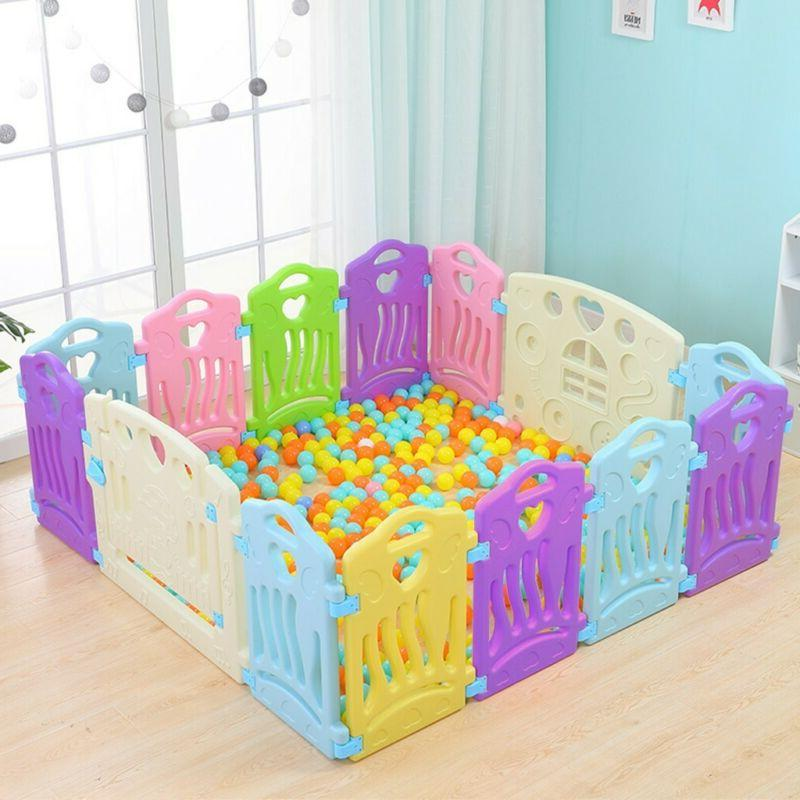 14 Panel Baby Playpen Kids Activity Safety Play Yard Fence Flexible Shape