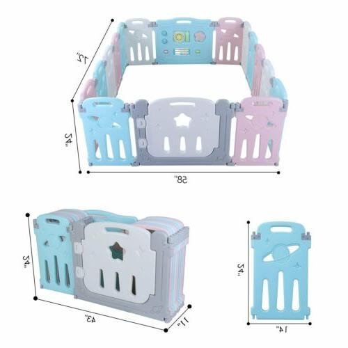 16 Baby Safety Play Kids Foldable Playpen