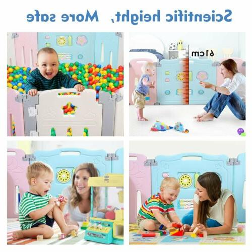 16 Panel Safety Play Kids Playpen Activity Fence
