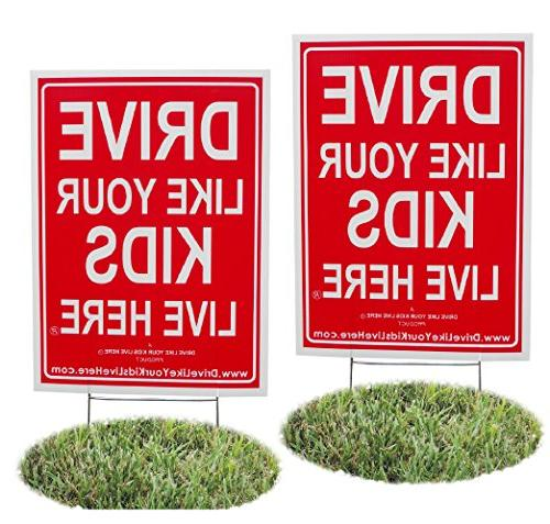 2 Pack - Drive Like Your Kids Live Here Yard Sign, Slow Down