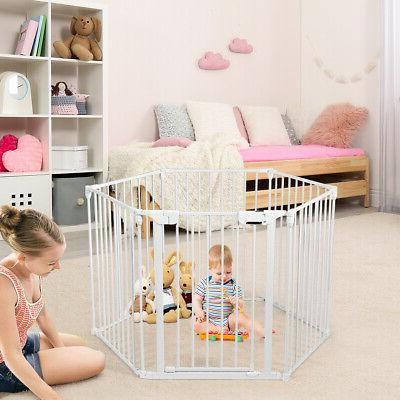6 Panel Baby Metal Gate Barrier Pet Fence