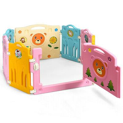8 Panel Baby Playpen Activity Center For Safety Play Yard Ho
