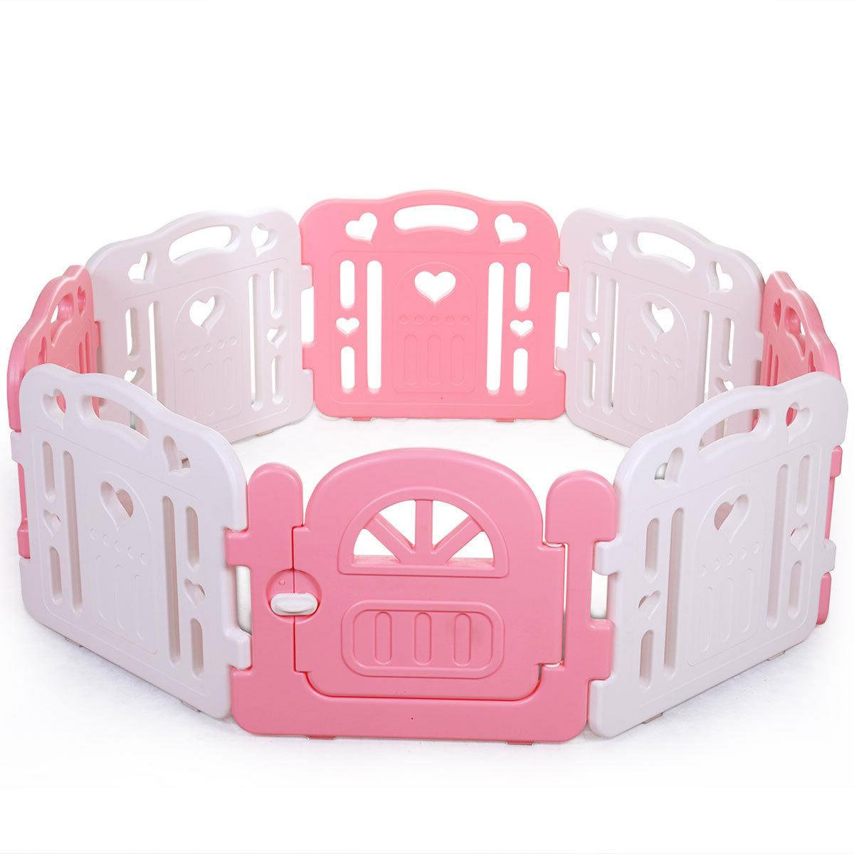 Baby Yards Fence 8 Activity Center Play Yard Pink
