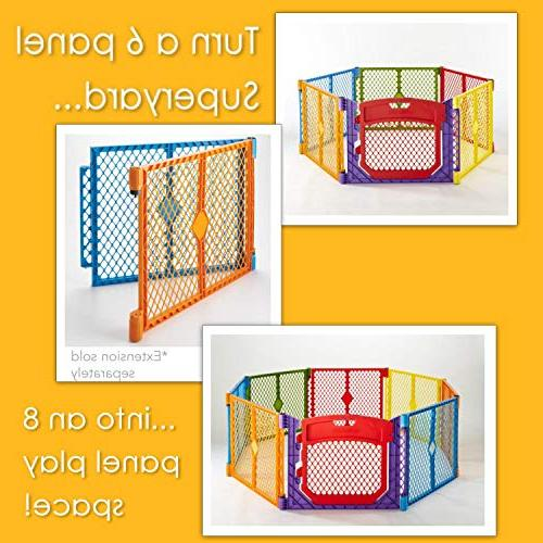 """North 192"""" Colorplay Ultimate 6-Panel Play Yard: area anywhere with carrying easy Freestanding. sq. ft."""