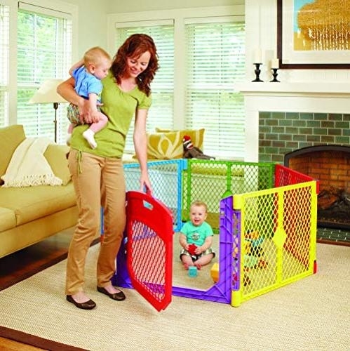 North States Colorplay 6-Panel Play Yard: Safe play anywhere with strap easy Freestanding.