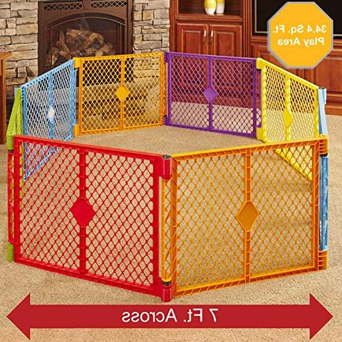 North States Superyard Colorplay 8-Panel Safe - Folds strap easy Freestanding. sq. ft. enclosure