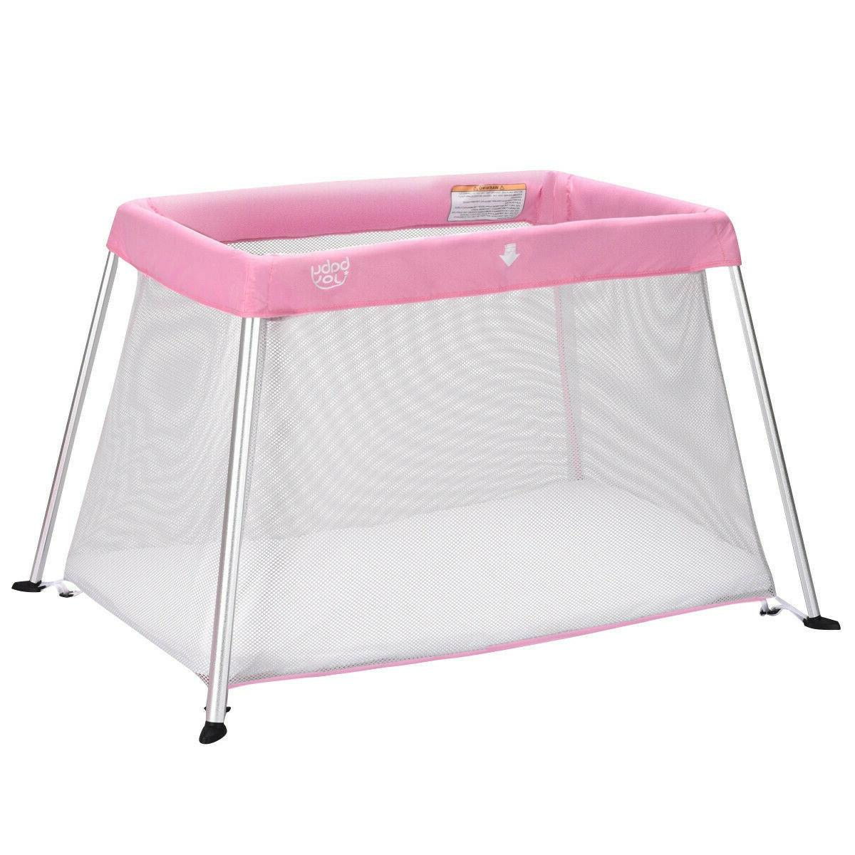 Baby Girl Travel Bed Portable Playpen Crib Foldable Play Yar