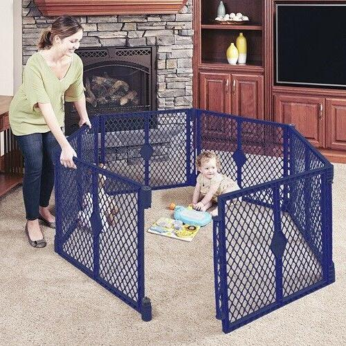 Baby Infant Child Plastic Play Yard Gate Playpen 6-Panel Ind