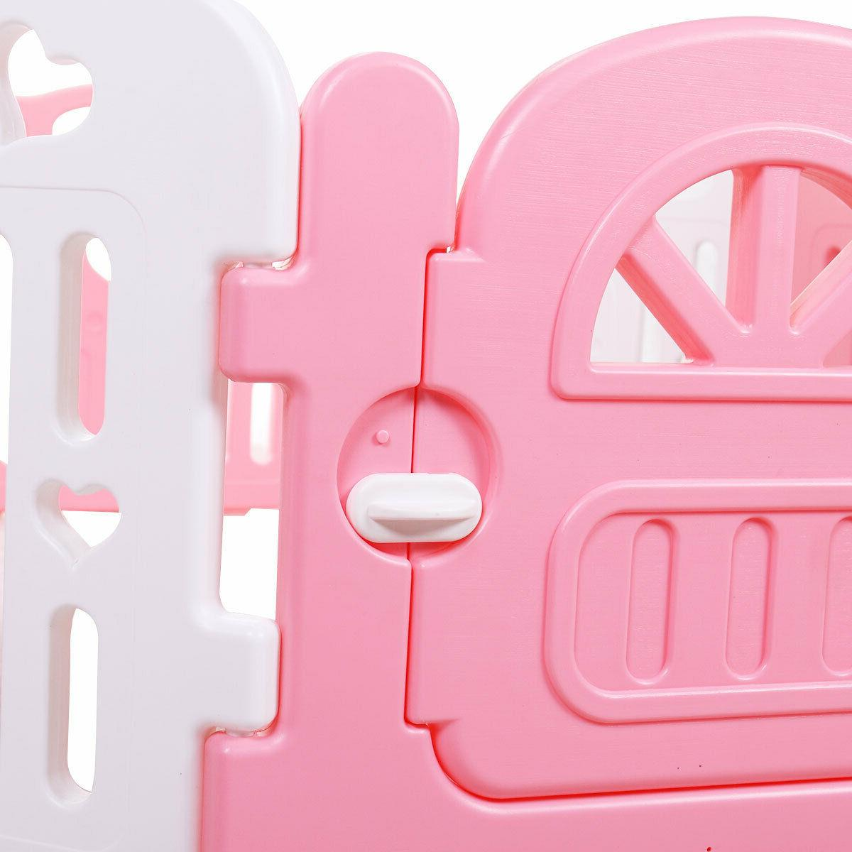 Baby Play Yards Fence 8 Panel Activity Safety Play Yard Pink