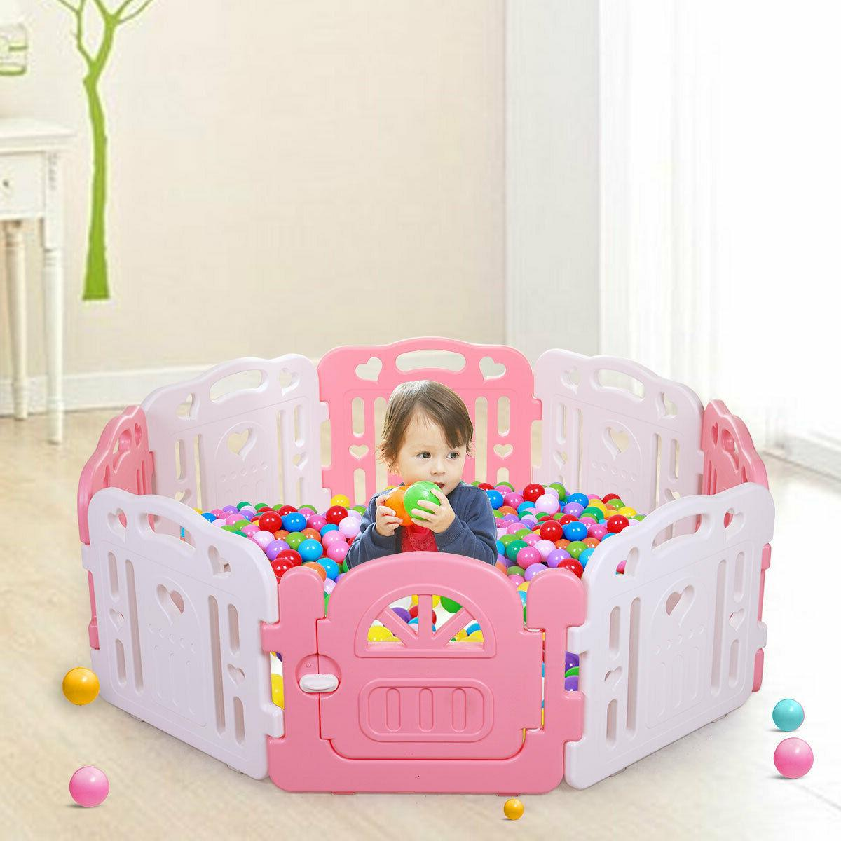 Baby Playpen Baby Yards Fence 8 Panel Activity Center Yard Pink