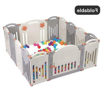 Baby Playpen Kids 14-Pieces Panel Safety Play Yard Home Pen Extension BT