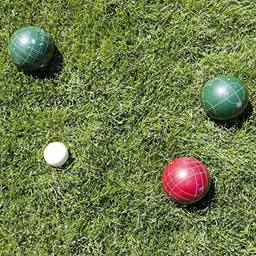 Hey! Ball Set- Outdoor Bocce Lawn, 4 Red Green Balls, Pallino Carrying Case