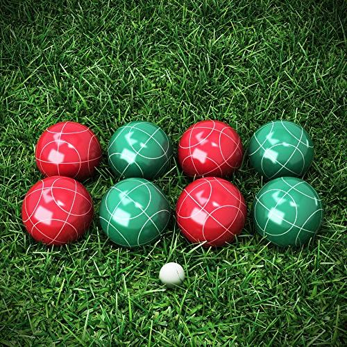 Hey! Play! 80-76090 Ball Set- Bocce Lawn, & More- 4 & 4 Green Carrying Case
