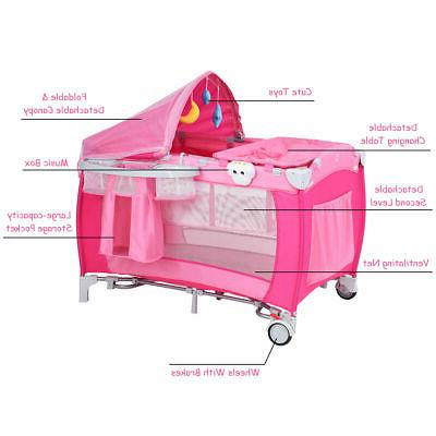 Foldable Playpen Travel Mosquito Net Pink