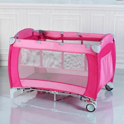Foldable Baby Playpen Travel Infant Mosquito Net Pink