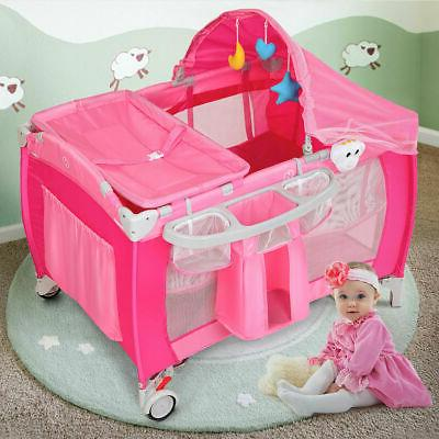 Foldable Baby Playpen Travel Bassinet Bed Mosquito Pink