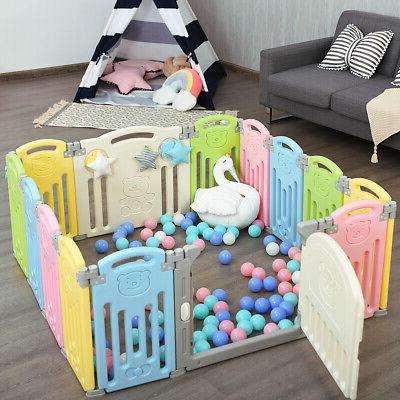 Foldable Playpen Panel Safety Play w/ Colorful