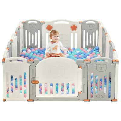 Foldable Playpen Panel Toys Safety Play w/Lock Door