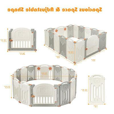 Foldable Playpen 16 Panel Toys Safety Door