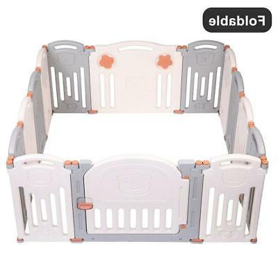 Foldable Baby Playpen Kids 14 Panel Play Center Fence
