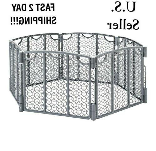 large 6 panel wide grey playpen play